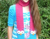 Crochet Owl Scarf Pattern, INSTANT DOWNLOAD, 5yrs to Adult, Permission to Sell Finished Product