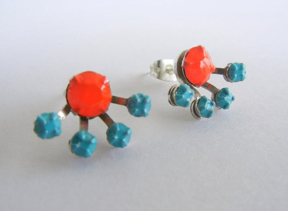 RESERVED FOR JEAN Vintage 1950s One Of A Kind Fabulous Neon Red and Turquoise Rhinestone Earrings