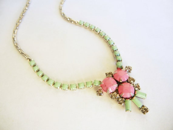Vintage 1950s Hand Painted One Of A Kind Mint Green and Pink Rhinestone Necklace