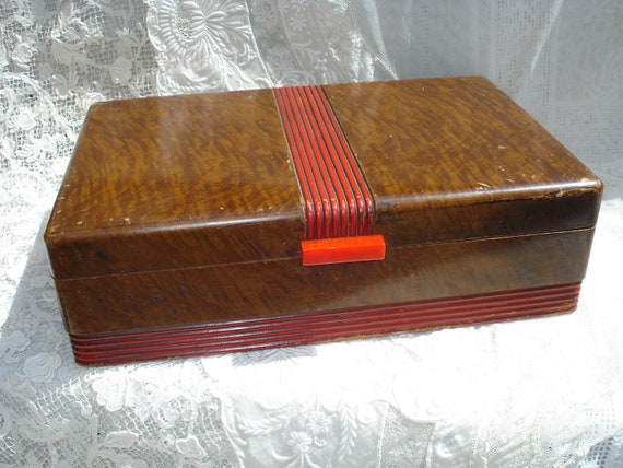 Vintage Art Deco Wood Box With Mirror Jewelry Box