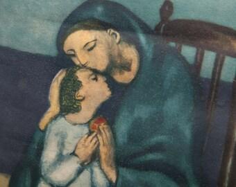 Mother and Child - Extremely Strange Vintage Print - Old Wood Frame