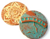 Yoga Holiday Ornaments: Namaste Ornament, Christmas Mandala, Hanukkah Flower, Polymer Clay, Gifts for Yogis MADE TO ORDER