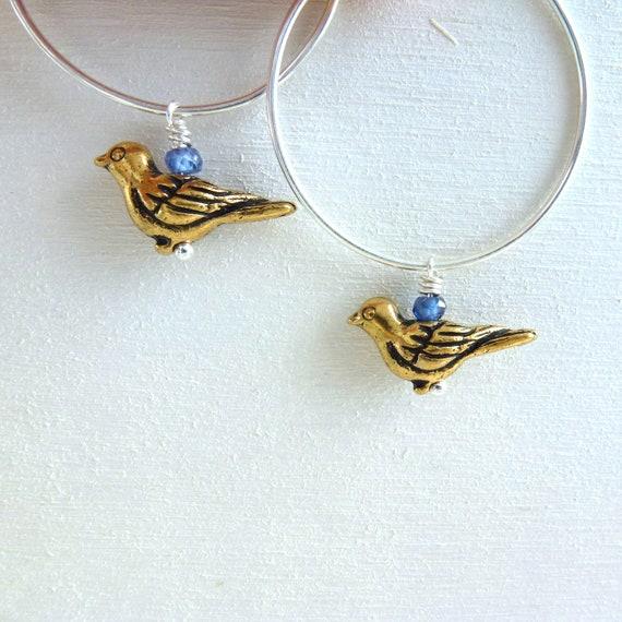 Bird Earrings Sterling Silver Jewelry Brass Charm Hoops