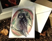 Bill Murray Owl 4x5 art greeting card - blank inside