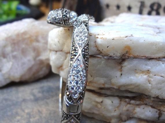 Sale Pending.  On Hold for Poorkid. Sterling Silver Marcasite & Czechoslovakian Hand cut Crystal Snake Bracelet or Clamp Bracelet