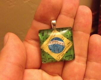 Brazil Flag Music Notes - Glass Tile Necklace -