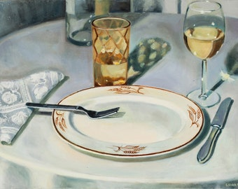 Table Setting Study, Limited Edition Print, white wine, glass, wheat pattern plate, napkin, fork