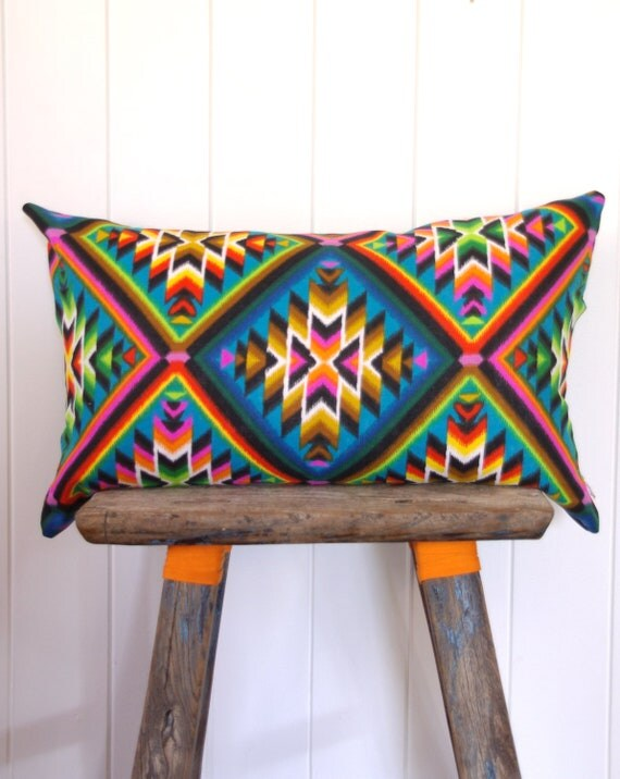 Cushion Cover Vintage Neon Aztec Limited Edition Alexander Henry Fabric