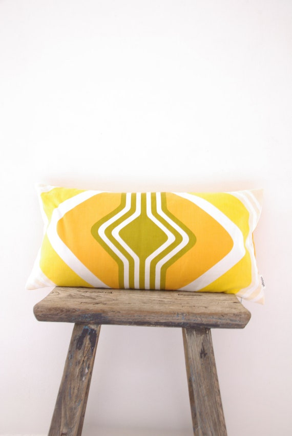 Cushion Cover Upcylced Vintage Retro Tablecloth Yellow, Mustard, & White