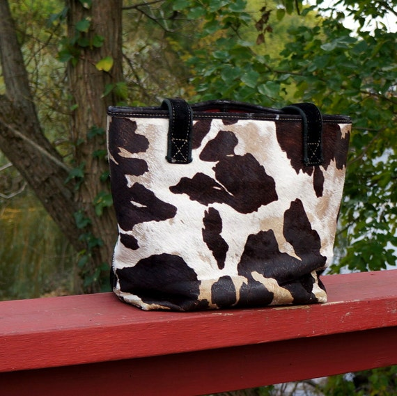 80s Perfectly Worn Cowhide / Cow Hair Tote / Book  Bag - Maxx New York