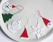 Christmas decorations, set of 6. Cotton crochet Christmas decorations, red white green. READY TO SHIP