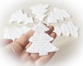 White Christmas ornaments Crochet Christmas decorations Hanging Christmas tree Snow