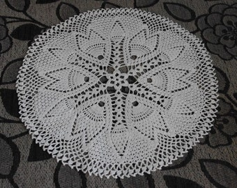 Crochet doily Round crochet doilies White handmade cotton lace doily Crocheted doilies Home decor Large crochet doily 68