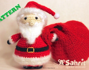 PATTERN Instant Santa Claus Amigurumi Doll Crochet Christmas Holiday With Present Sack