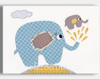 Nursery Art Print, Boys Baby Shower, Elephant Decor, Boys Wall Art, Kids Wall Art,  Baby Shower Water Spout