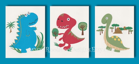 Dinosaur Art Print Kids Wall Art Boys Room Decor Blue Red
