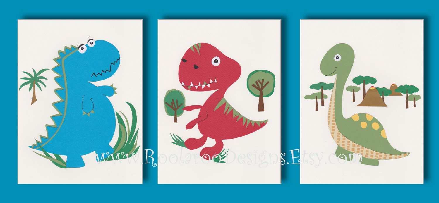 Dinosaur art print kids wall art boys room decor blue red for Boys wall art