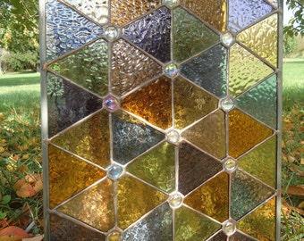 "Stained Glass Window Transom Panel Valance Suncatcher Curtain 17""x13"""