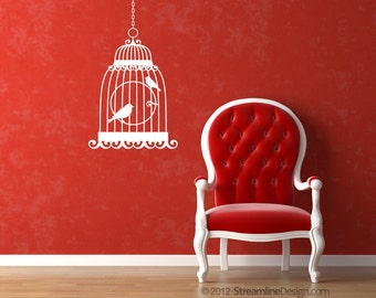 Birds in Cage Removable Vinyl Wall Art, bird cage wall vinyl birds in a cage vintage bird cage