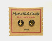 Anchor Gold on Black Toolie Post Earrings