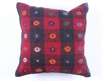 "Modern Bohemian Home Decor,Turkish Wool Kilim Pillow Cover 16"" X 16"",Tribal Pillow,Kilim Ebroidery Pillow,Vintage Kilim Pillow, riot color"
