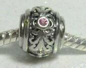 Pink (Rose)  Crystal  Spacer Bead  For European Style Charm Bracelet - October Birthstone