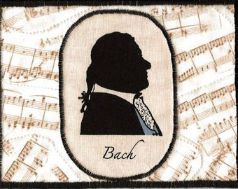 Bach Fabric Postcard for the Music Lover