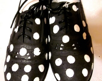 Custom Painted Black and White Polka Dot women's shoes size 8.5 ON SALE