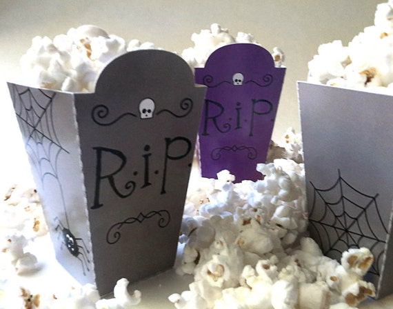 Halloween Treat Boxes PDF Printable - Purple or Grey Gravestone DIY Cut-Outs.