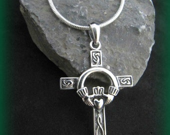 Beautiful Sterling Silver Celtic Irish Claddaugh Irish Knot Cross Necklace
