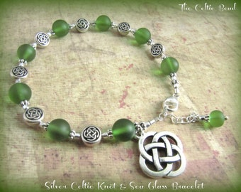 Silver Celtic Knot & Sea Glass Charm Bracelet