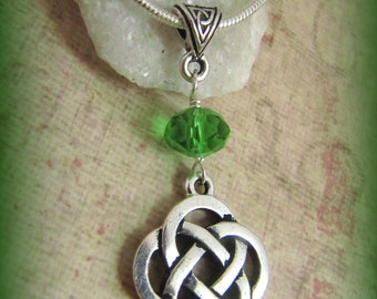 Silver Celtic Knot and  Crystal Necklace