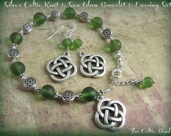 Silver Celtic Knot & Sea Glass Charm Bracelet and Matching Earring Set