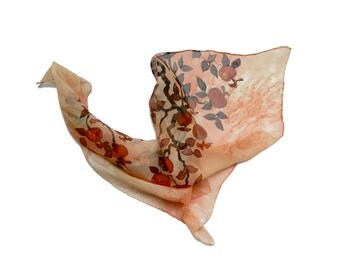 Pomegranate brunch hand painted silk scarf. Garnet and salmon, orange and coral silk scarf. Ready to ship.