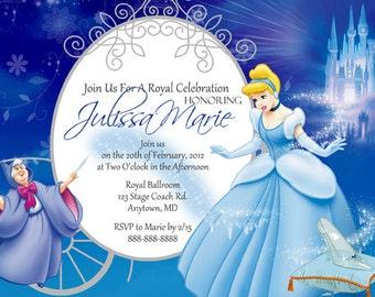 Cinderella Invitation Digital File 4X6 or 5X7