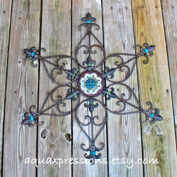 Distressed Metal Wall Decor : Metal wall decor aqua red green distressed by aquaxpressions