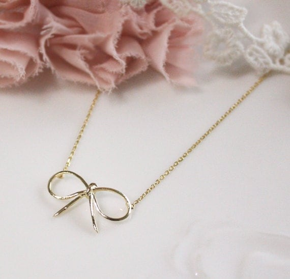 Bridesmaid gifts - Set of 5 - Bow necklace in gold