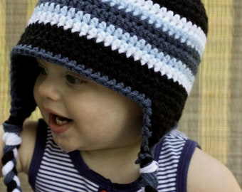 Blue Striped Earflap Hat - Crochet Boy Hat - Blue Crochet Hat