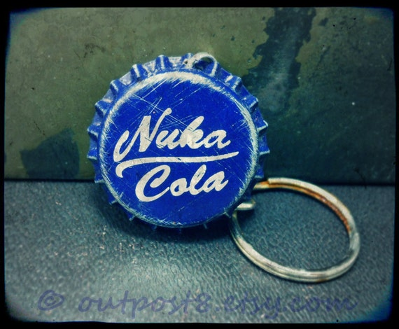 SALE Fallout inspired Nuka Cola bottle cap keychain. The original. Choose red, blue, or white. Featured in EGM.
