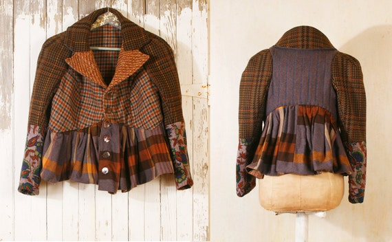 Jacket woman brown Patchwork jacket Plaid jacket Tartan jacket Wool jacket woman Blue brown coat Winter fashion Boho jacket RESERVED