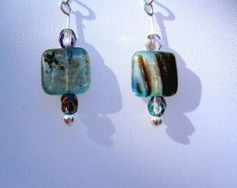 Jasper and Czech Glass Dangle Earrings, Jasper Earrings, Silver Dangle Earrings, Women's Silver Dangle Earrings