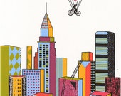 BALLOON in NEW YORK, 10x13 Screen print