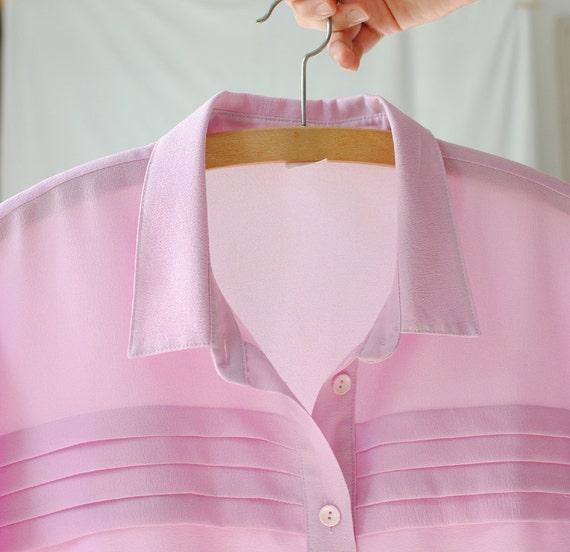 Sheer Pink Blouse / Shirt -Long Sleeves -Vintage -Medium