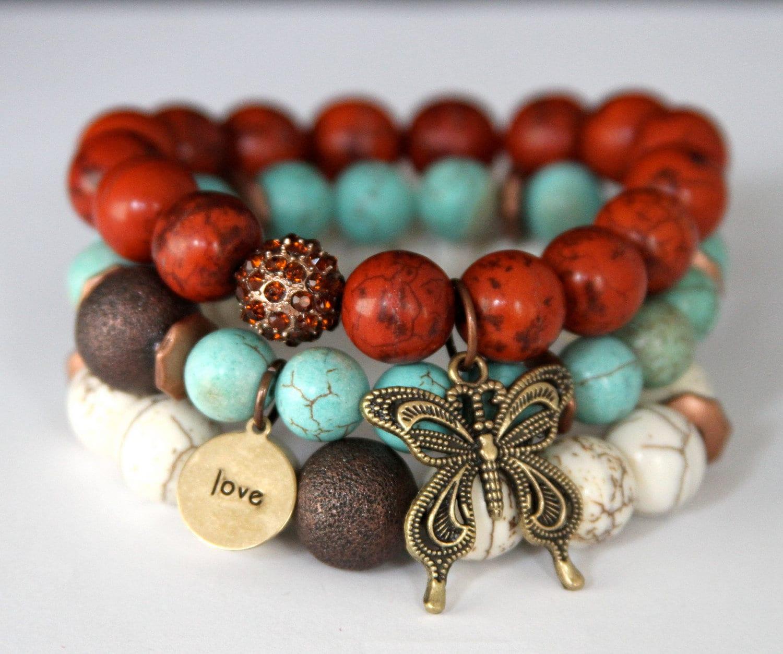 Beaded Charm Bracelets: Boho Chic Butterfly And Love Charm Stretch Beaded Bracelets