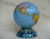 Tin Atlas Globe Bank, Vintage
