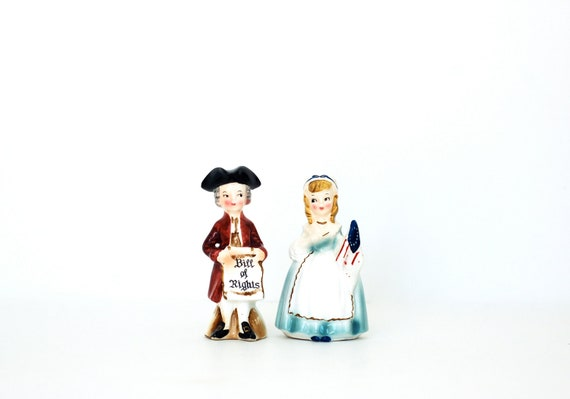 Vintage Enesco Salt and Pepper Shakers Bill of Rights Betsy Ross