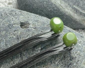 Green Decorative Hair Pins Jade Gemstone Bobby Pins Beaded Hair Pins Large Green Hair Pins