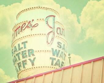 Vintage Sign Print, retro decor, shabby chic nursery, carnival print, vintage circus, pink, aqua, pale yellow, fPOE