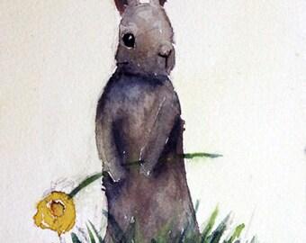 Rabbit in the Grass 5x7 Print of my original Watercolor
