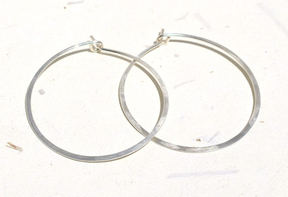 Sterling Silver Hoops <<>> Hammered Wide <<>> Satin Finish